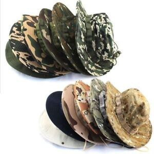 Tactical Military Camo Boonie Bucket Sun Hat Wide Brim Jungle Fishing Bush Caps