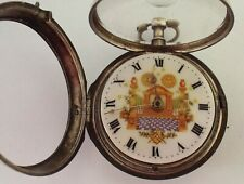 RARE SILVER MASONIC WATCH WITH PICTURE DIAL VERGE FUSEE P/CASE  C1802 WORKING