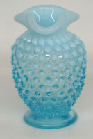 Fenton Hobnail Style Opalescent Blue Glass Small Vase 1416B