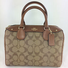 New Coach F58312 Mini Bennett Satchel Handbag Purse Shoulder Bag PVC Khaki/Saddl