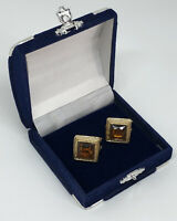 1980s Vintage Statement Earrings Pierced Gold Tone Smoky Crystal Power Dressing