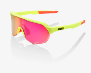 100% S2 Matte Washed Out Neon Yellow Sunglasses, Purple Multilayer Mirror Lens