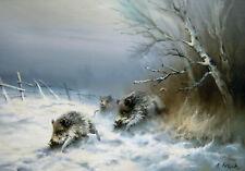 Arnold Schatz 1929 Stepenitz / Wildschweine im Winter / Jagd - Gemälde / 5900 DM