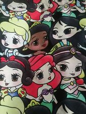 Custom 100% Woven Cotton Fabric Loungefly Inspired Chibi Princess In Stock! P/Yd