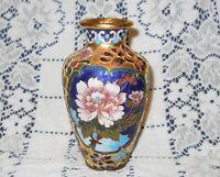 Chinese Cloisonne Double Pink Rose Blue Stylized Cabinet Vase