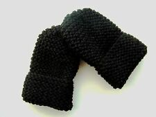 CHILDREN'S HAND KNITTED MITTENS, BLACK, ACRYLIC WOOL, ONE SIZE NEW