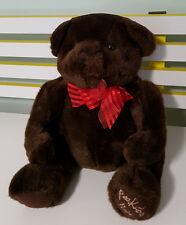 PEEK A BOO PALS TEDDY BEAR MANGO TOYS BROWN RED BOW 32CM SEATED!