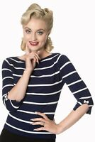 Women's Blue White Stripes Vintage Retro Rockabilly Knitted Top BANNED Apparel