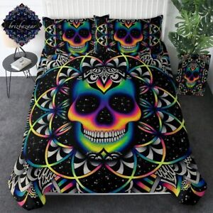 Queen Colorful Skull Duvet Cover Galaxy Mandala Gothic Bedset 3-piece Bedclothes