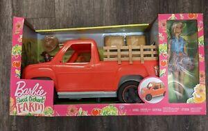 Barbie Sweet Orchard Farm Truck + Doll + Pet Dog + Accessories NEW Set