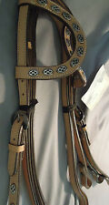 2 Ear Western Headstall & reins oval concho light oil