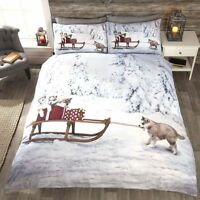 Huskies & Sleigh Christmas Duvet Cover Bedding Sets Single, Double, King