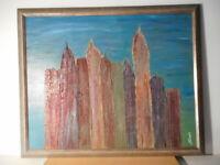 Tableau peinture building gratte-ciel paysage urbain ville Etats Unis ? Sauves