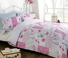 KING SIZE DREAM PATCHWORK FLORAL BUTTERFLY POLKA DOTS PINK LOVE DUVET COVER SET
