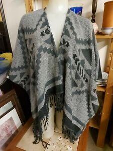Hollister Black & Grey Kimono Wrap Top / Jacket Fringed,Festival, Medium/Large