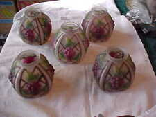 """RARE Set of 5 CONSOLIDATED GRAPE Art Glass Lamp Shades 2-1/4"""" Fitter"""