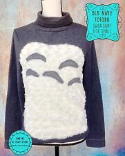 TOTORO Size Small Old Navy Studio Ghibli Gray Snuggly Pullover Sweatshirt KAWAII