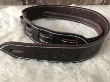 Personalized  Custom Quality Leather Guitar Strap with Name Adjustable End