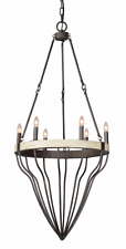 Large Chandelier Wood and Metal 6 Bulb Ornament Style Light Fixture