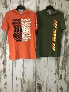 2 Zumba Hoodies One Orange and one Olive Green Size Small