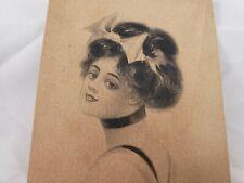 C 1910 Antique Gibson Girl Victorian Pretty Lady Big Hair Bow Art DB Postcard