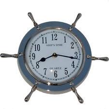Silver Ships Wheel Helm Shipwheel Wall Clock Nautical Beach Ship Nickel Decor