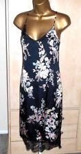 Black floral satin effect slip dress size 12 party