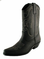 Mens Cowboy Boots Western Black Leather US Size 8 MADE IN SPAIN JOHNNY BULLS