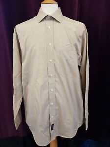 GANT Two Ply 100's MEN'S Shirt 42 16.5 LARGE Beige Brown White CHECKED 2 Smart L