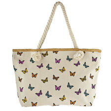 Rope Strap Tote Beach Bag Lux Accessories Multicolored Butterfly Print
