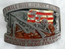 Indiana Metal Craft XR96 Give Up My Gun Belt Buckle Metal Pry Cold Dead Fingers