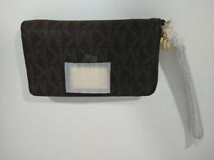 Michael Kors Jet Set Large Wallet Brown Phone Case 32T5GTTE2B MK Initials