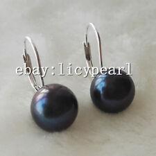 Hebel zurück Ohrringe,10-11mm schwarz Süßwasserperlen Ohrringe