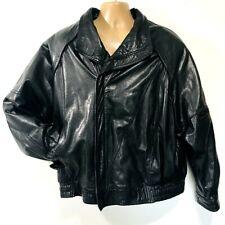 Vintage Raffaelo Leather Bomber Jacket Black Mens 52 Lined Motorcycle Insulated