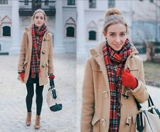 XS 2 TOPSHOP Tan Camel Duffle Toggle Coat Plaid Lined As seen on Taylor Swift