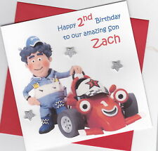 Personalised Handmade Roary the Racing Car 1st,2nd,3rd,4th,5th Birthday Card