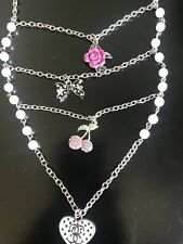 Guess  Triple Charm Necklace peals and flower and cherry and bow Chain