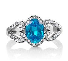 1,55Kt 585er WeißGold Natürlicher Blauer Topas EGL Zertifizierter Diamant ring