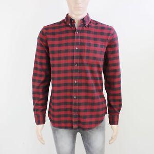 Next Mens Size M Burgundy Black Check Long Sleeve Shirt