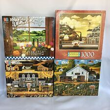4 Charles Wysocki Americana Jigsaw Puzzles 1000 Piece Sleepy Fox Farms Lot