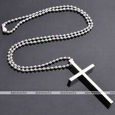 Stainless Steel Latin Cross Pendant Ball Chain 19''L Necklace Women Detachable