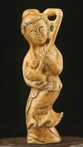 Chinese old natural jade hand-carved statue ancient dancer pendant 2.9 inch
