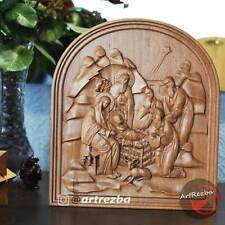 """Nativity, Birth of Jesus Orthodox Wooden Carved Icon. Christian Gift (10""""x9"""")"""