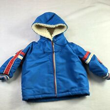 Vtg 70s 80s WEATHER TAMER Blue Sherpa Lined Hooded Baby Boy Sz 24 MONTHS 2T