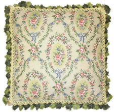 """20"""" x 20"""" Handmade Wool Needlepoint Floral Roses Pillow with Tassels"""