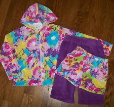 NWT Girl Friends Anita G Lot Purple RAINBOW TIE DYE Terry Jacket/Capri/Shorts 3T