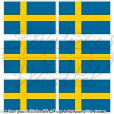 """SWEDEN Swedish Flag 40mm (1.6"""") Mobile Cell Phone Mini Vinyl Stickers, Decals x6"""