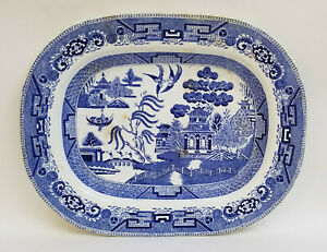 """ANTIQUE W. RIDGWAY SEMI CHINA WILLOW BLUE and WHITE PLATTER ~ 13.75 x 11"""""""