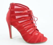 Women's Sexy Lace Glitter Open Toe Zipper Evening High Heel Shoes Size 6 -10 NEW