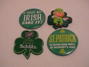 LOT /4 IRISH FAKE IT SHAMROCK LEPRECHAUN SCHLITZ ST PATRICKS DAY BEER BAR PINS
